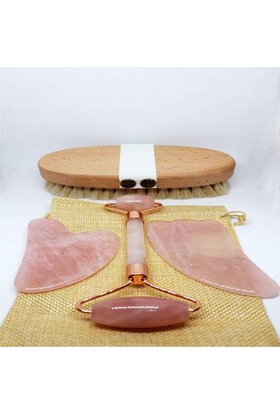 NehirTaş Doğal Atkılı Fırçası + Pembe Kuvars Roller + 2 li Yüz Masaj Taş