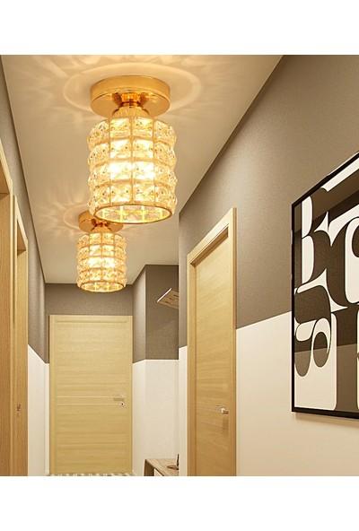 Işıksan Aydınlatma Modern Luxury Plafonyer Kristal Taşlı Avize Krom Po Gold