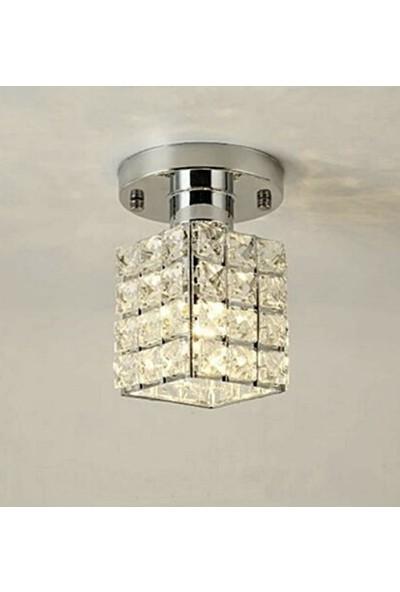 Işıksan Aydınlatma Işıksan Gold Sarı Modern Luxury Plafonyer Kristal Taşlı Avize P4 Krom