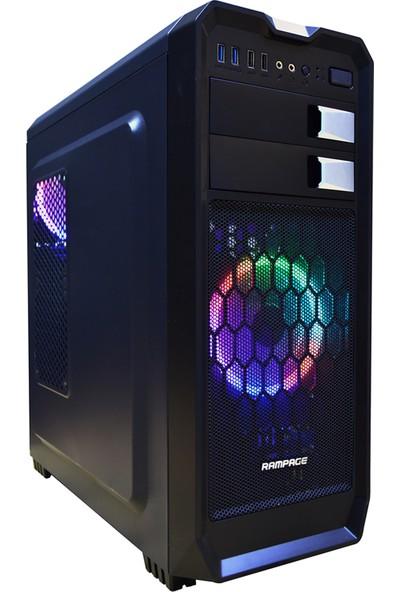 Rampage 66S Rainbow Fanlı Siyah Gaming Oyuncu Bilgisayar Kasası