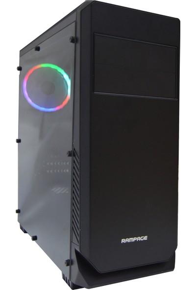 Rampage 66W Smooth Rainbow Fanlı Siyah Gaming Oyuncu Bilgisayar Kasası