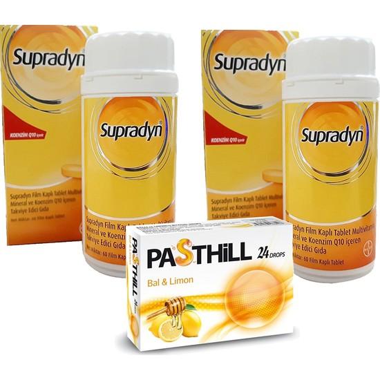 Supradyn Koenzim Q10 60 Tablet x 2 Adet + Pasthill 1 Adet Portakal & C Vitamini 24 Drops Hediye