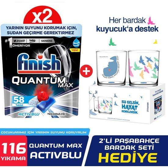 Finish Quantum Max Bulaşık Makinesi Deterjanı 116 Kapsül (58X2) Paşabahçe Bardak Hediyeli