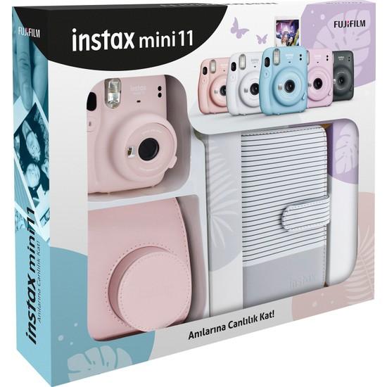Fujifilm Instax Mini 11 Çizgili Laporta Albümlü Pembe Kit