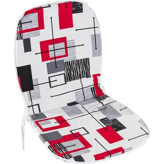Genova Home 4 Adet Sandalye Minderi Sırtlı Kırmızı Desenli