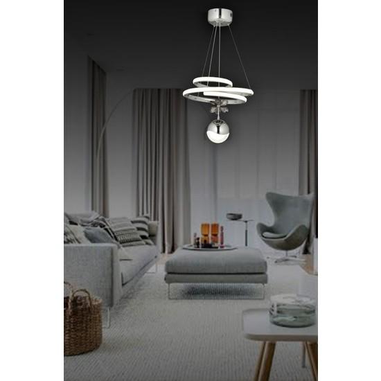 Luna Lighting Modern Luxury Sarkıt LED Avize Krom Tekli