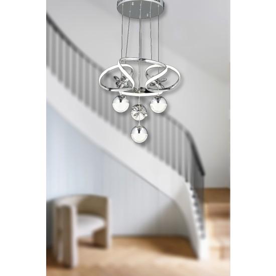 Luna Lighting Modern LED Avize 3+1 Krom Ledli Avize