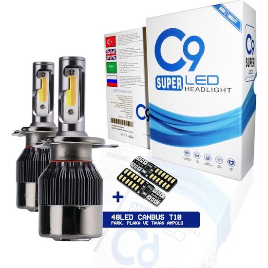 C9 Trio Üç Renk LED Xenon Far Ampulü Sarı Beyaz Gün Işığı 9400 Lümen 10000K H4