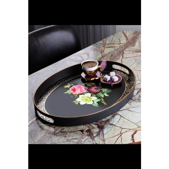 Queen's Kitchen Yaldızlı Lüx Oval Büyük Tepsi
