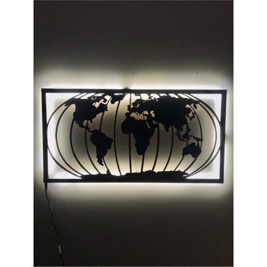 Dekoraven Dünya Haritası LED Işıklı Tablo