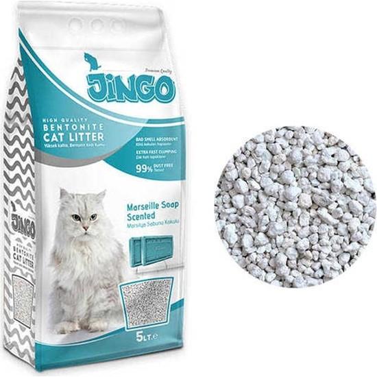Jingo Marsilya Sabun Kokulu Bentonit Kedi Kumu Kalın Taneli 5 L