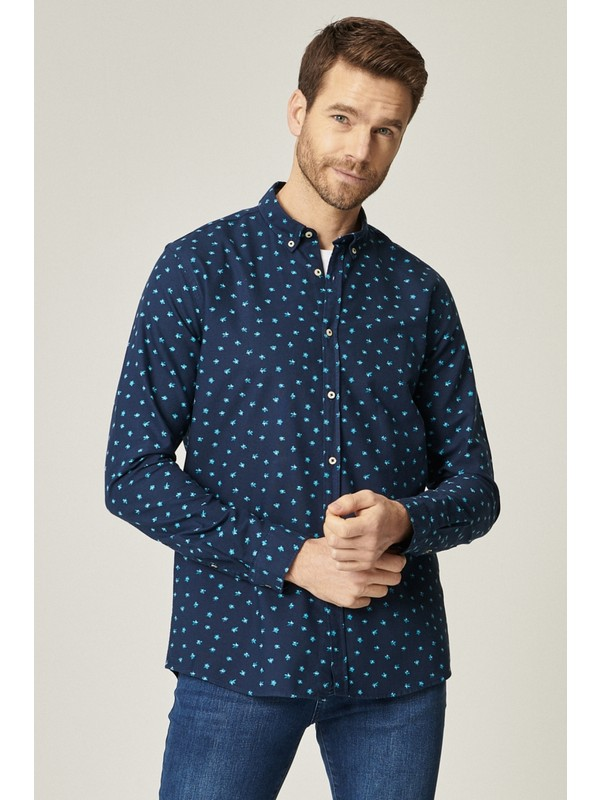 Altınyıldız Classics Tailored Slim Fit Düğmeli Yaka Baskılı Koton Gömlek