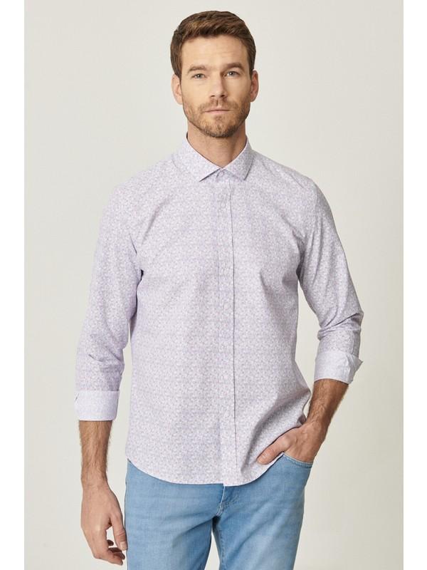 AC&Co / Altınyıldız Classics Tailored Slim Fit Dar Kesim İtalyan Yaka Baskılı Gömlek