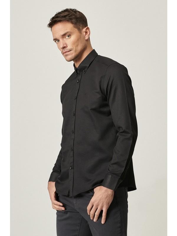 Altınyıldız Erkek Tailored Slim Fit Dar Kesim Düğmeli Yaka Armürlü Gömlek