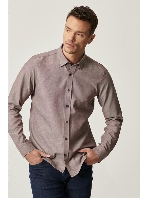Altınyıldız Erkek Tailored Slim Fit Dar Kesim Düğmeli Yaka Oxford Gömlek