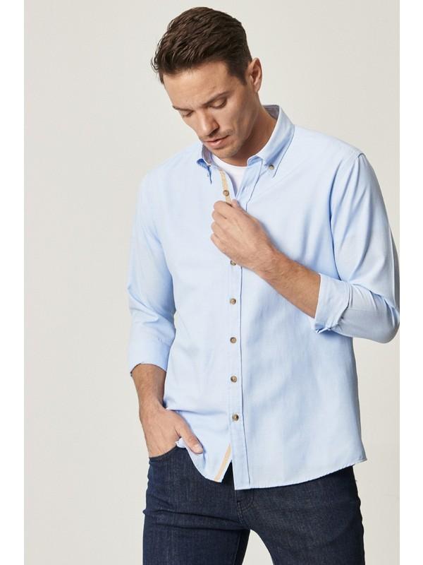 Altınyıldız Classics Tailored Slim Fit Dar Kesim Düğmeli Yaka Oxford Gömlek