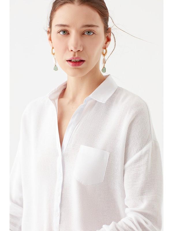 Mavi Kadın Cep Detaylı Beyaz Bluz 120567-20814