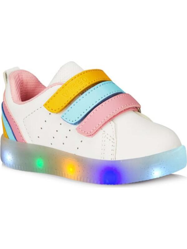 Vicco 220 P21Y.212 Işıklı Çocuk Spor Ayakkabı - Beyaz-Pembe - 26