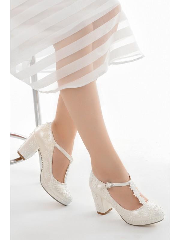 Ayka Trend Cmr G-20 7 cm Topuk Abiye Kadın Gelin Ayakkabı