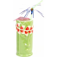 Biradlı Tiki Mug Kokteyl Bardağı, Seramik, 540 Cc, 8X17, 5 Cm, Yeşil
