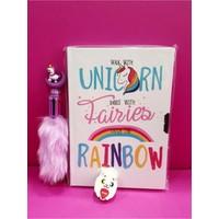 Çınar Dizayn Unicorn Kilitli Hatıra ve Günlük Defteri + Lisanslı Unicorn Tükenmez Kalem + Silgi