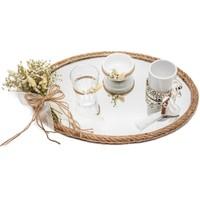 Lora Wedding Doğal Kurutulmuş Damat Kahvesi Tepsisi Takımı