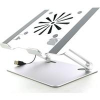 CoverZone Profosyonel Tok Aluminyüm Khv2 Folding USB Fanlı Laptop Notebook Macbook Soğutucu Standı