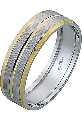 Gümüş Pazarım 6 mm Altın Şeritli Gümüş Erkek Alyans