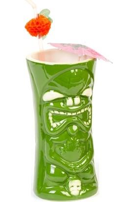 Biradlı Tiki Mug Kokteyl Bardağı, Seramik, 440 Cc, 8X17, 5 Cm, Yeşil