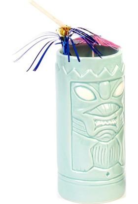 Biradlı Tiki Mug Kokteyl Bardağı, Seramik, 650 Cc, 8X18, 5 Cm, Mavi