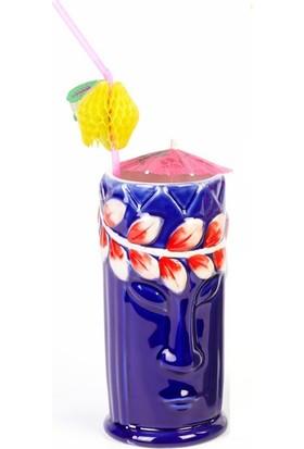 Biradlı Tiki Mug Kokteyl Bardağı, Seramik, Seramik, 540 Cc, 8X17, 5 Cm, Mavi