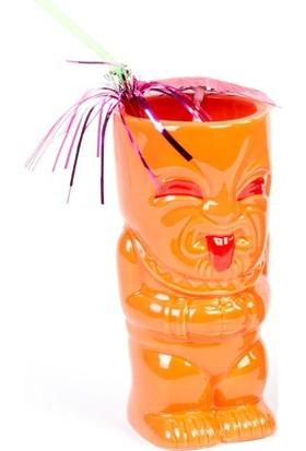 Biradlı Tiki Mug Kokteyl Bardağı, Seramik, 410 Cc, 8X17 Cm, Turuncu