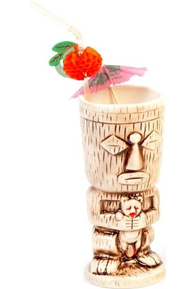 Biradlı Tiki Mug Kokteyl Bardağı, Seramik, 310 Cc, 8X18, 5 Cm, Kahverengi