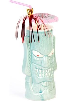 Biradlı Tiki Mug Kokteyl Bardağı, Seramik, 350 Cc, 8X17, 5 Cm, Açık Mavi