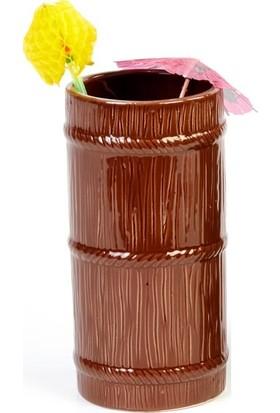 Biradlı Tiki Mug Kokteyl Bardağı, Seramik, 570 Cc, 8X17 Cm, Kahverengi