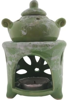 Mogan Çömlekçilik Yeşil Mermer Desen Seramik Demlik Buhurdanlık