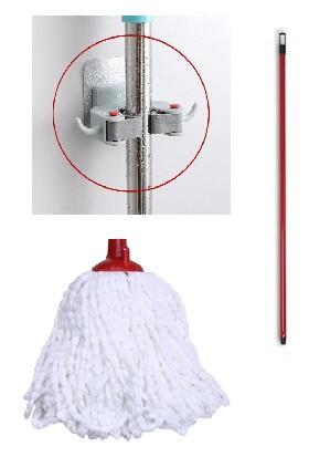 Ak Temizlik Püskül Mop + Fırça Sapı + Çok Amaçlı Mop Aparatı
