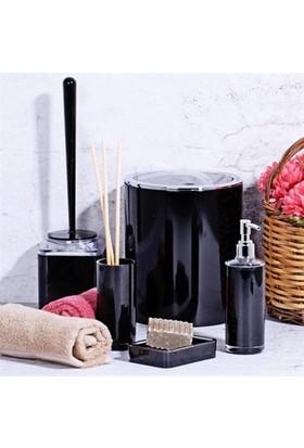 Kosova Akrilik 5 Parça Yuvarlak Siyah Banyo Seti