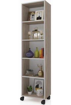 Kenz Life Kitaplık Beril 168 x 040 x 020 Crd Tekerlekli Mutfak Dolabı Banyo Ofis Ayakkabılık Kiler