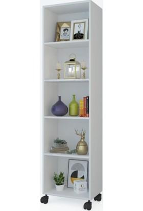 Kenz Life Kitaplık Beril 188 x 040 x 020 Byz Tekerlekli Mutfak Dolabı Banyo Ofis Ayakkabılık Kiler