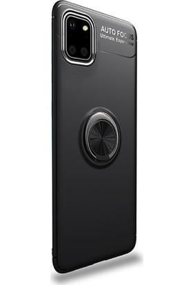 Smcase Samsung Galaxy Note 10 Lite Kılıf Ravel Silikon Yüzüklü Mıknatıslı +Nano Glass Siyah