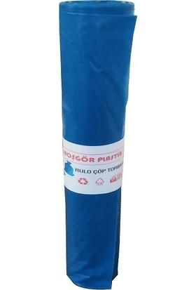 Hoşgör Plastik Çöp Torbası Poşeti Mavi Rulo 80 x 110 Jumbo Boy 10 Rulo 100'LÜ