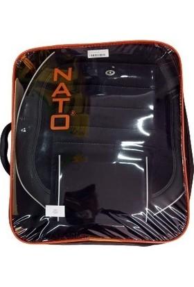 Nato EG-06A Tay Tüyü Bel Destekli Parçalı Koltuk Kılıfı Siyaha Siyah Deri Kenarlıklı Gri Fitilli