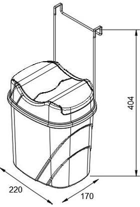 Teknotel Dolap İçi Askılı Yutan Kapak Çöp Kovası Beyaz + Gri Kova