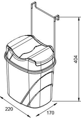 Teknotel Dolap İçi Askılı Yutan Kapak Çöp Kovası Bakır + Gri Kova