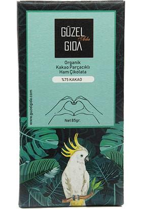 Güzel Ada Gıda Organik Parçacıklı Çikolata Bar %75 85 gr