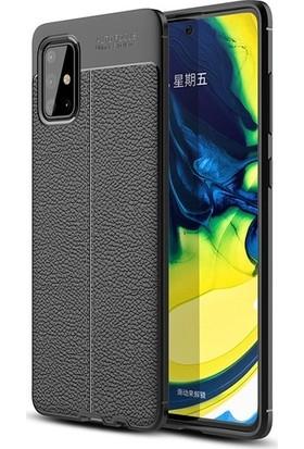Mobicas Samsung Galaxy M51 Kılıf Deri Desenli Lux Niss Silikon + Nano Cam Ekran Koruyucu Siyah