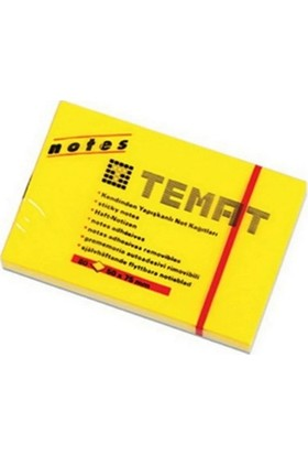 Temat Fosforlu Yapışkanlı Not Kağıdı Sarı 50 x 75 mm