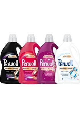 Perwoll Hassas Bakım Sıvı Çamaşır Deterjanı 4 x 3L (195 Yıkama) Siyah + Renkli + Beyaz + Çiçek Cazibesi