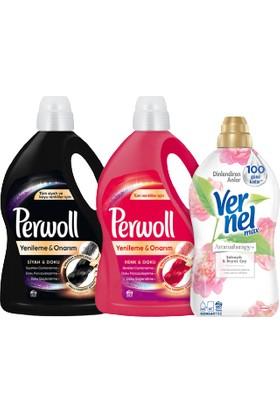 Perwoll Hassas Bakım Sıvı Çamaşır Deterjanı 2 x3L(100 Yıkama)Siyah+Renkli+Vernel Max 1440ml(60Yıkama) Şakayık